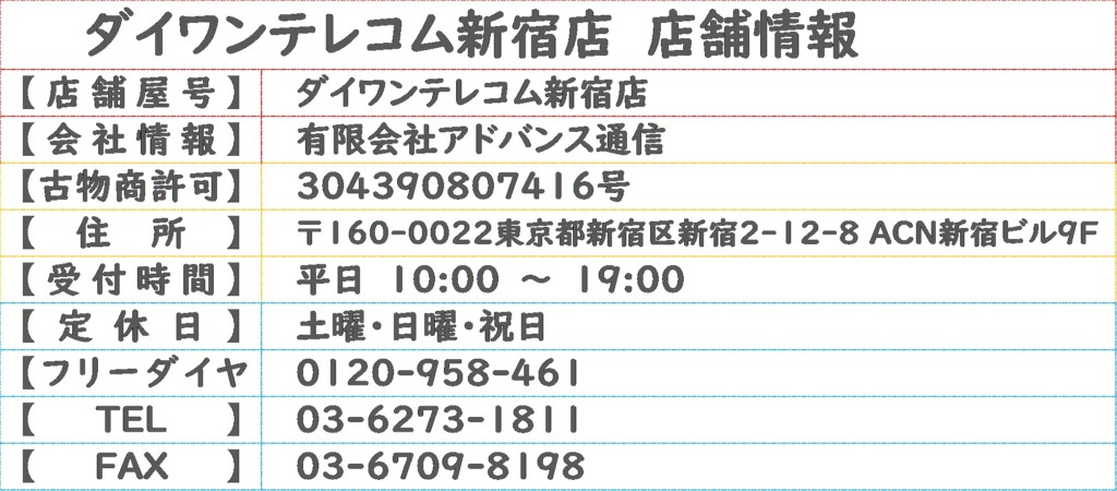 ダイワンテレコム新宿店店舗情報